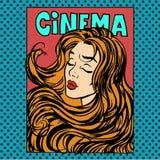 Cinema dell'eroina dell'attrice della donna del manifesto di film illustrazione vettoriale