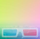 Cinema dell'orologio 3D degli spettatori, tonalità di RGB Fotografie Stock Libere da Diritti