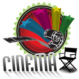 Cinema design. Abstract colorful illustration with stars, filmstrip, director chair and the word cinema coming out from the white floor. Cinema theme Royalty Free Stock Photography