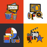 Cinema design concept flat icons set. Cinema retro film house tickets 3d glasses with movie projector four flat icons composition abstract vector illustration Stock Photography