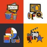 Cinema design concept flat icons set Stock Photography