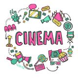 Cinema Design Concept. With hand drawn movie art icons set vector illustration Stock Photos