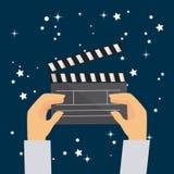 Cinema design. Cinema design over blue background,  illustration Royalty Free Stock Photo