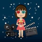 Cinema design. Cinema design over blue background,  illustration Stock Images
