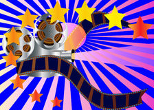 Cinema device with reel and film. Illustration cinema device with reel and film Stock Photography