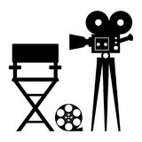 Cinema director camera. Cinema icon. Film director chair in videoproduction. Flat vector cartoon illustration. Objects isolated on a white background royalty free illustration
