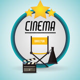 Cinema director chair clapper and speaker badge. Vector illustration eps 10 Stock Image