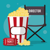 Cinema director chair pop corn and ticket. Vector illustration eps 10 Royalty Free Stock Photo