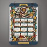 Cinema disegnato a mano variopinto di scarabocchi del fumetto modello del calendario da 2017 anni Immagine Stock