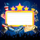 Cinema Display Board with Cheering Crowd. Illustration of cinema display board with cheering crowd Stock Photography