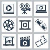 Cinema do vetor/ícones video ajustados Fotografia de Stock Royalty Free