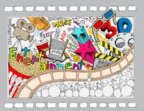 Cinema Doodle. Illustration of different cinema object in doodle style Stock Image