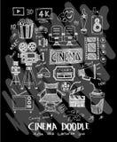 Cinema doodle illustration wallpaper background line sketch styl. E set on chalkboard Royalty Free Stock Image