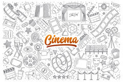Cinema doodle set with lettering. Hand drawn set of cinema doodles with orange lettering in vector Royalty Free Stock Photography