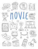 Cinema doodles set of hand drawn  vector Royalty Free Stock Photos