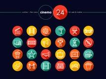 Cinema e ícones lisos do filme ajustados Foto de Stock Royalty Free