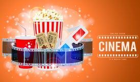 Cinema e bandeira do filme Fotografia de Stock Royalty Free