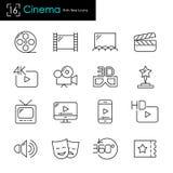 Cinema e filme que fazem o grupo relacionado com o mercado do ícone do vetor Imagens de Stock
