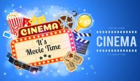 Cinema ed insegna di film Immagine Stock