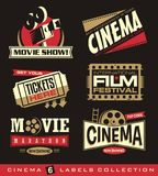 Cinema ed insieme di film delle etichette, degli emblemi, delle insegne e degli elementi di progettazione Fotografia Stock Libera da Diritti