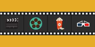 Cinema element flat design vector illustration. Cinema and movie element  with film reel, clapper, popcorn, 3d glasses, vector illustration Stock Photo
