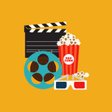 Cinema element flat design vector illustration. Cinema and movie element  with film reel, clapper, popcorn, 3d glasses, vector illustration Stock Photos