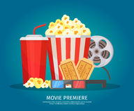 Cinema Elements Concept. With soda drink popcorn filmstrip glasses and tickets on light background isolated vector illustration Royalty Free Stock Images