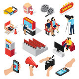 Cinema Elements Icon Set. Cinema 3d isometric set of isolated ticket office seats people popcorn and smartphone ticketing app icons  vector illustration Stock Image