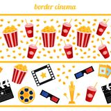 Cinema elements on a white background  border seamless  Stock Image