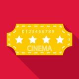 Cinema emblem icon, flat style. Cinema emblem icon. Flat illustration of cinema emblem vector icon for web Stock Photography