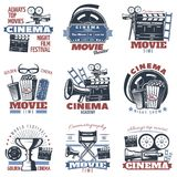 Cinema Emblems In Color. Colorful isolated cinema emblems with camera megaphone other film making stuff and editable text captions vector illustration Royalty Free Stock Photos