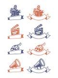 Cinema emblems. Set of cinema emblems. Vector illustration Stock Photos