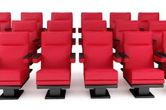 Cinema, empty hall. Red armchair, white background Royalty Free Stock Image