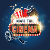 Cinema ensign movie time. Banner for movie and cinema Stock Photography