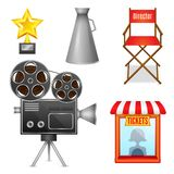 Cinema entertainment decorative icons. Set of camera film projector ticket booth and director chair design elements isolated vector illustration Royalty Free Stock Image