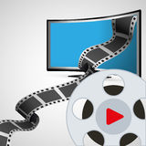 Cinema entertainment television with film reel Stock Images