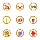 Cinema entrance icons set, cartoon style. Cinema icons set. Cartoon set of 9 cinema vector icons for web isolated on white background Royalty Free Stock Photography
