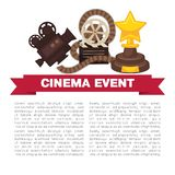Cinema event promotional poster template with cinematographic symbols. Ancient camera, reel with film, wooden clapper board and award in form of star vector Stock Photography