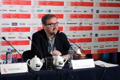 Cinema expert Pyotr Shepotinnik at press-conference of 39th Moscow International Film Festival. Color phot Stock Images