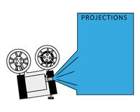 Cinema exposition frame with film projector.  vector illustration