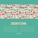 Cinema festival concept. Contains seamless pattern with thin line icons related to film. Vector illustration for banner, web page, announcement Stock Photos