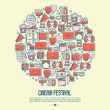 Cinema festival concept in circle. With thin line icons related to film. Vector illustration for banner, web page, announcement Royalty Free Stock Photography