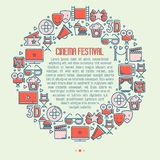 Cinema festival concept in circle. With thin line icons related to film. Vector illustration for banner, web page, announcement Royalty Free Stock Image
