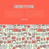 Cinema festival concept with thin line icon. S related to film. Vector illustration for banner, web page, announcement Royalty Free Stock Images