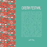 Cinema festival concept with thin line icons. Related to film. Vector illustration for banner, web page, announcement Royalty Free Stock Photos