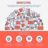 Cinema festival concept with thin line icons. Related to film. Vector illustration for banner, web page, announcement Stock Photo