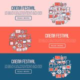 Cinema festival concept with thin line icons. Related to film. Vector illustration for banner, web page, announcement Royalty Free Stock Image