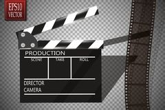 Cinema festival Flyer Or Poster With Movie Reel And Clapper Board. Vector Illustration Of Film Industry. Template For Stock Images