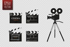 Cinema festival Flyer Or Poster With Movie Reel And Clapper Board. Vector Illustration Of Film Industry. Template For Royalty Free Stock Photos