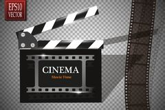Cinema festival Flyer Or Poster With Movie Reel And Clapper Board. Vector Illustration Of Film Industry. Template For Royalty Free Stock Images